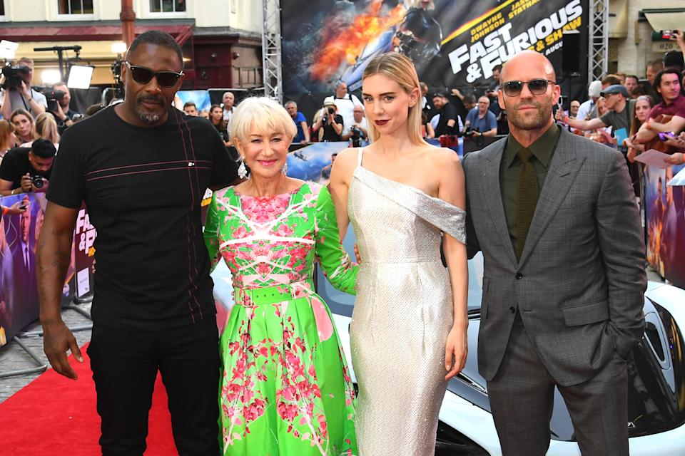 """LONDON, ENGLAND - JULY 23: Idris Elba, Helen Mirren, Vanessa Kirby and Jason Statham attend the """"Fast & Furious: Hobbs & Shaw"""" Special Screening at The Curzon Mayfair on July 23, 2019 in London, England. (Photo by Dave J Hogan/Getty Images)"""