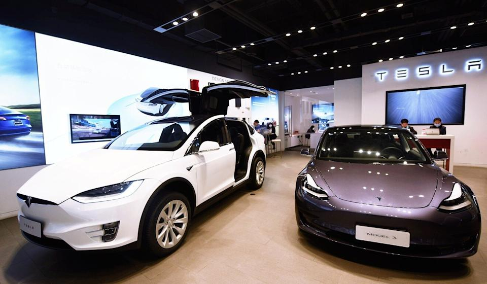 A Tesla store in Hangzhou. Xpeng is one of three Chinese electric vehicle start-ups viewed as potential rivals to America's Tesla. Photo: Handout
