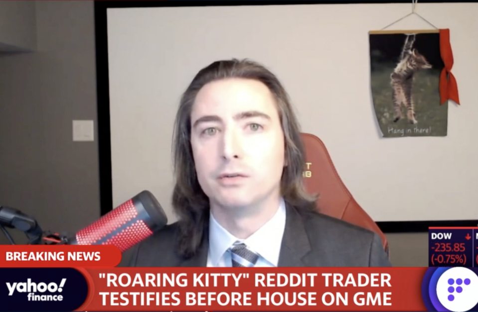 Keith 'RoaringKitty' Gill testifies before the House Financial Services Committee. (Image: Yahoo Finance)