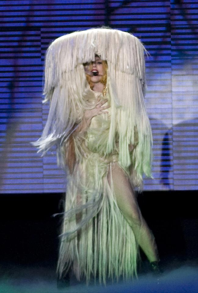 Lady Gaga  The legend of the yeti is true! Oh wait, that's just Lady Gaga swathed in curtains of hair extensions. Not a stranger to the strange, Gaga's hairbrained 2010 tour costume doesn't fit into her usual sexy, wildly edgy and forward-thinking looks. Some needs to take a razor (or a blow torch) to that whole outfit!