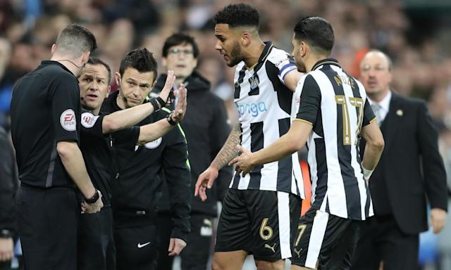 "<span class=""element-image__caption"">Newcastle players confront the referee Keith Stround after Matt Richie's converted penalty was ruled out.</span> <span class=""element-image__credit"">Photograph: Owen Humphreys/PA</span>"