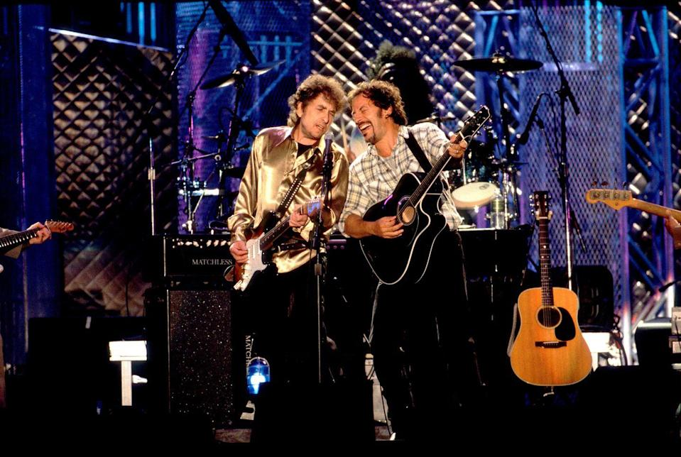 """<p>Bob Dylan and Bruce Springsteen perform the song """"Forever Young"""" onstage at the opening of the Rock & Roll Hall of Fame, in Cleveland, Ohio on September 25, 1995.</p>"""