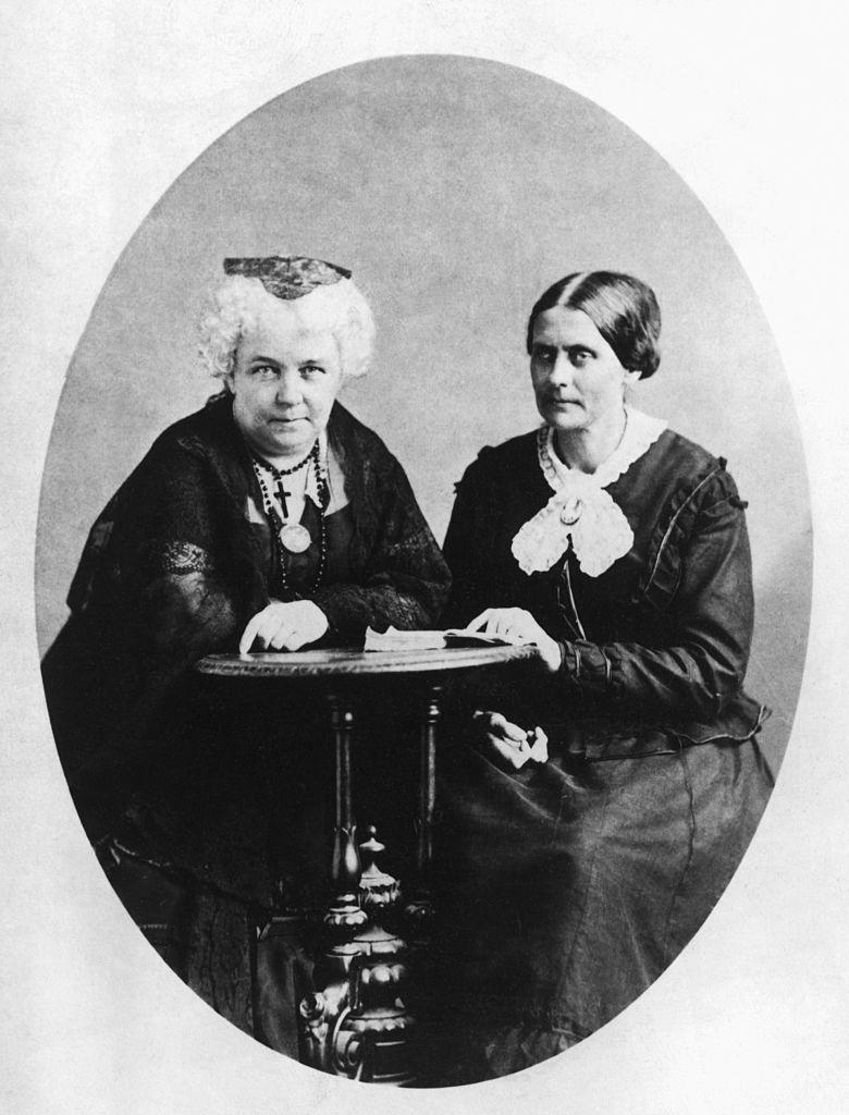"""A circa 1881 photograph of Susan B. Anthony and Elizabeth Cady Stanton, founders of The National Woman Suffrage Association, seated together at small table.<span class=""""copyright"""">Bettmann Archive—Getty Images</span>"""
