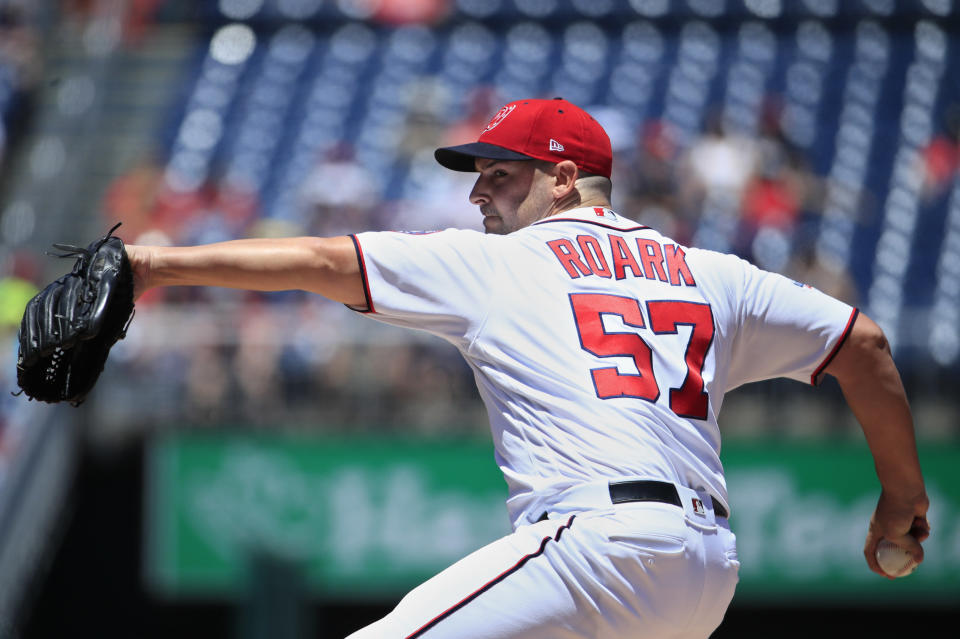 Washington Nationals starting pitcher Tanner Roark (57) throws during the first inning of a baseball game against the Miami Marlins in Washington, Sunday, July 8, 2018. (AP Photo/Manuel Balce Ceneta)