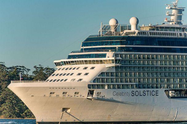 PHOTO: The Celebrity Solstice cruise ship seen approaching towards Sydney Harbour for restocking and refueling before leaving Australian waters, April 4, 2020, in Sydney, Australia.  (Izhar Khan/NurPhoto via Getty Images)