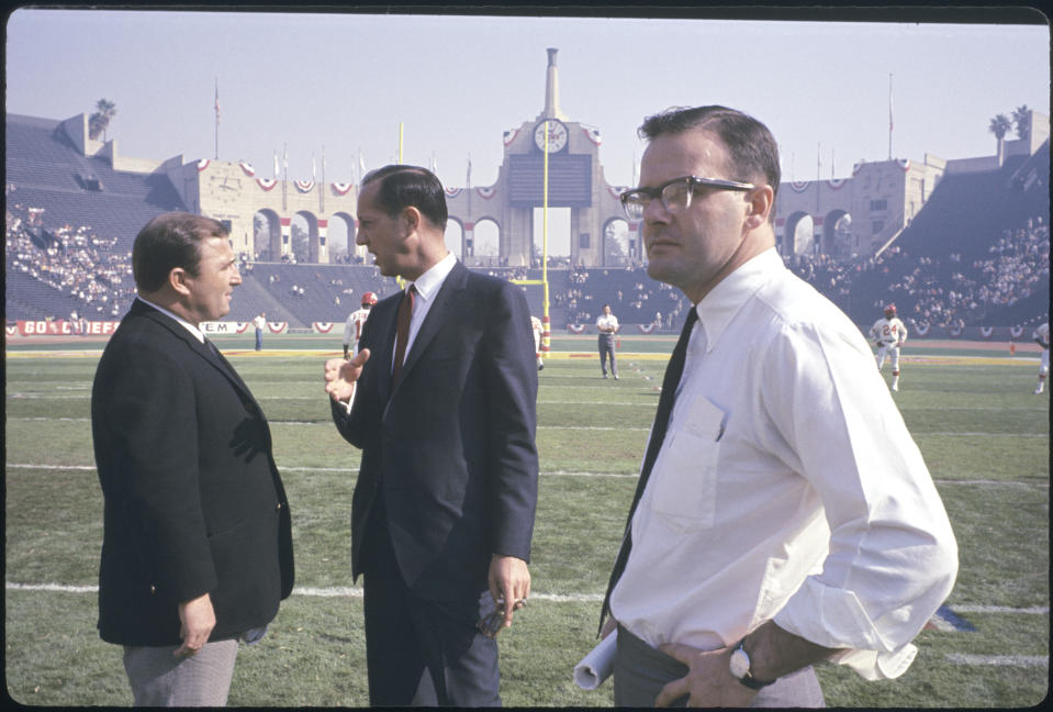 15 JAN 1967:  Super Bowl I, Hank Stram, Pete Rozelle and Lamar Hunt, The Green Bay Packers defeated the Kansas City Chiefs 35-10 in front of a crowd of 61,946 in Los Angeles Mermorial Coliseum, Los Angeles, CA..Photo:  © Rich Clarkson / Rich Clarkson & Assoc..(303)  295-7770