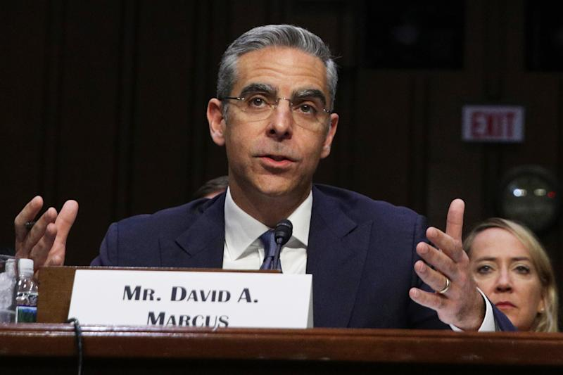 "WASHINGTON, DC - JULY 16: Head of Facebook's Calibra David Marcus testifies during a hearing before Senate Banking, Housing and Urban Affairs Committee July 16, 2019 on Capitol Hill in Washington, DC. The committee held the hearing on ""Examining Facebook's Proposed Digital Currency and Data Privacy Considerations."" (Photo by Alex Wong/Getty Images)"