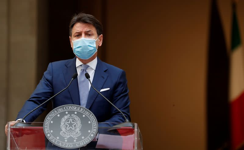 FILE PHOTO: Italian Prime Minister Giuseppe Conte speaks during a news conference on government's new anti-COVID-19 measures, in Rome