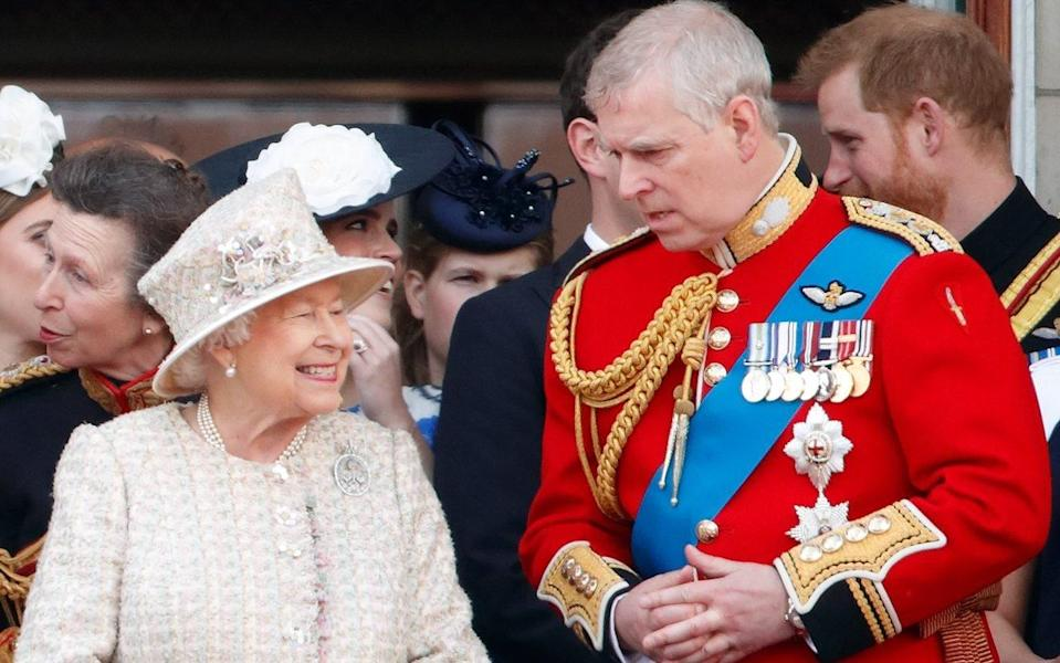 The Queen and Prince Andrew watching the Trooping The Colour in 2019  - Max Mumby