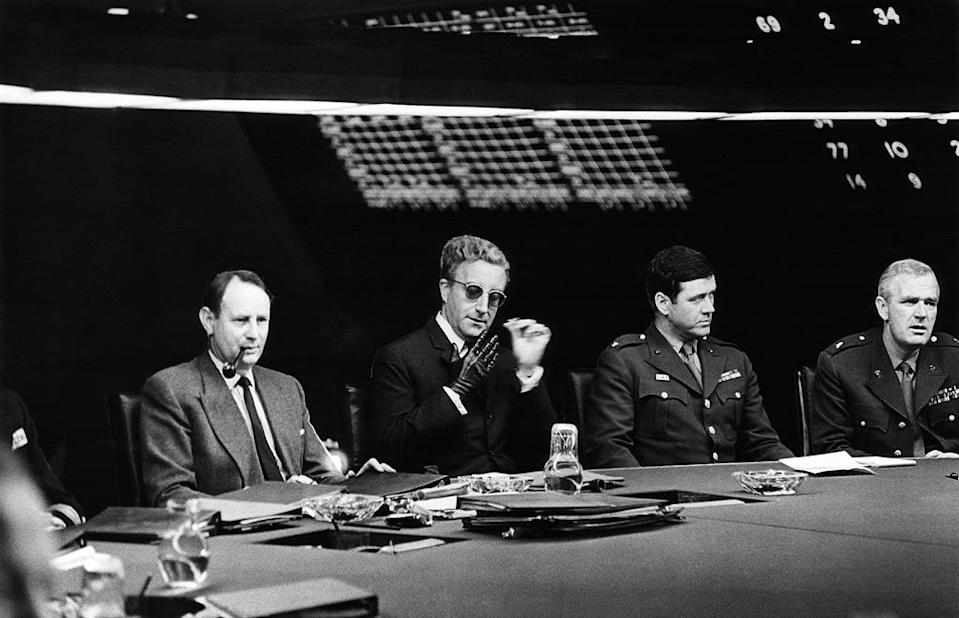 """<a href=""""http://movies.yahoo.com/movie/dr-strangelove/"""" data-ylk=""""slk:DR. STRANGELOVE OR: HOW I LEARNED TO STOP WORRYING AND LOVE THE BOMB"""" class=""""link rapid-noclick-resp"""">DR. STRANGELOVE OR: HOW I LEARNED TO STOP WORRYING AND LOVE THE BOMB</a> (1964) <br>Directed by: <span>Stanley Kubrick</span> <br>Starring: <span>Peter Sellers</span>, <span>George C. Scott</span> and <span>Sterling Hayden</span>"""
