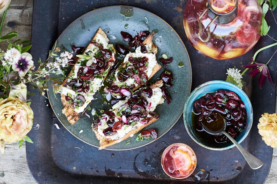 """This cherry salsa recipe is also delicious as a condiment for grilled portobello mushroom caps. Or, pulse it in a food processor to make a vinaigrette for a salad of tender greens. <a href=""""https://www.epicurious.com/recipes/food/views/grilled-bruschetta-with-ricotta-and-cherry-salsa?mbid=synd_yahoo_rss"""" rel=""""nofollow noopener"""" target=""""_blank"""" data-ylk=""""slk:See recipe."""" class=""""link rapid-noclick-resp"""">See recipe.</a>"""