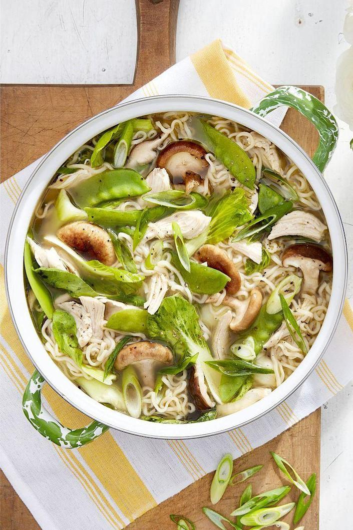 """<p>This Asian-inspired soup puts pre-packaged ramen to shame.</p><p><strong><a href=""""https://www.countryliving.com/food-drinks/a16571797/ginger-garlic-chicken-ramen-recipe/"""" rel=""""nofollow noopener"""" target=""""_blank"""" data-ylk=""""slk:Get the recipe"""" class=""""link rapid-noclick-resp"""">Get the recipe</a>.</strong></p><p><strong><strong><a class=""""link rapid-noclick-resp"""" href=""""https://www.amazon.com/Lodge-Enameled-Classic-Enamel-Basting/dp/B000N501BK?tag=syn-yahoo-20&ascsubtag=%5Bartid%7C10063.g.35055779%5Bsrc%7Cyahoo-us"""" rel=""""nofollow noopener"""" target=""""_blank"""" data-ylk=""""slk:SHOP DUTCH OVENS"""">SHOP DUTCH OVENS</a></strong><br></strong></p>"""
