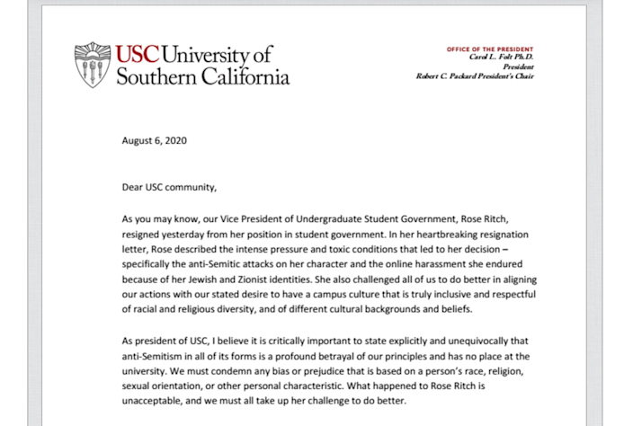 USC President Carol L. Folt condemned anti-Semitism in a letter to the campus community.