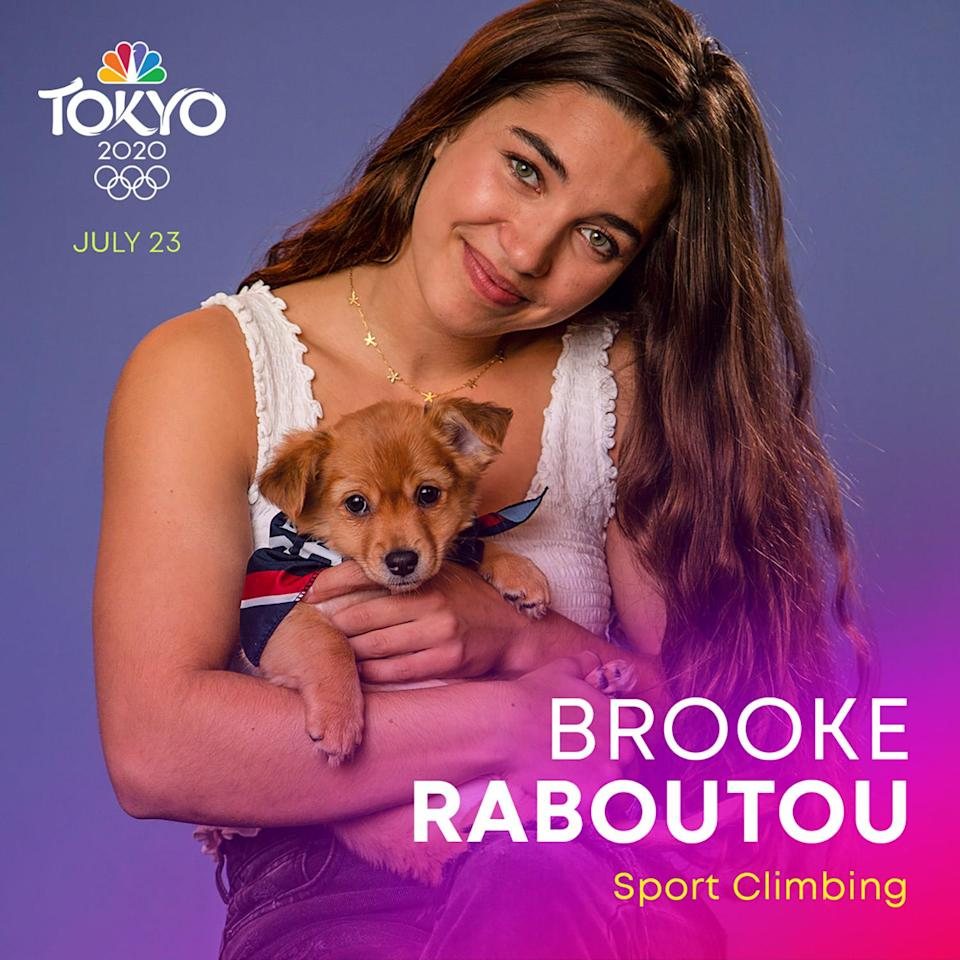 """<p>The daughter of world cup champion climbers Robyn Erbesfield-Raboutou and Didier Raboutou, <a href=""""https://www.teamusa.org/usa-climbing/athletes/Brooke-Raboutou"""" rel=""""nofollow noopener"""" target=""""_blank"""" data-ylk=""""slk:Rabouto"""" class=""""link rapid-noclick-resp"""">Rabouto</a> is a sport climber working to make her own mark at the Tokyo Summer Games. </p>"""