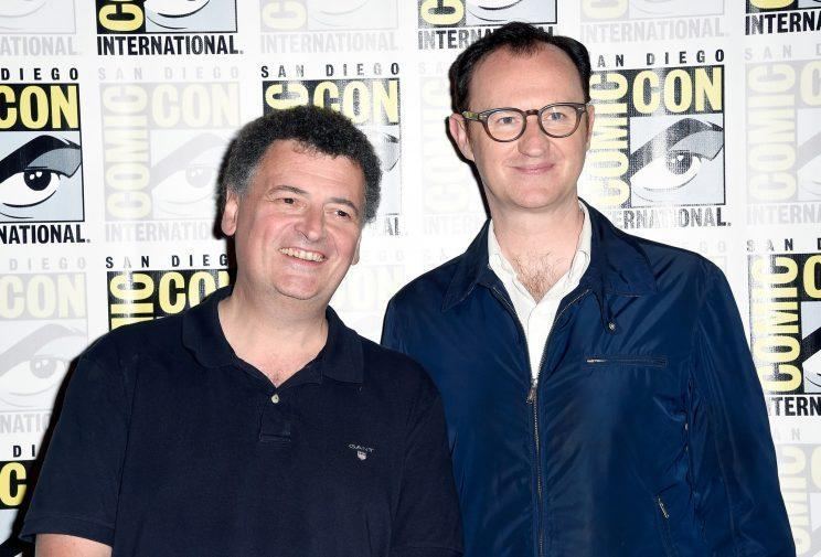 Steven Moffat (L) and Mark Gatiss are set to reunite to make Dracula series. (Photo by Frazer Harrison/Getty Images)