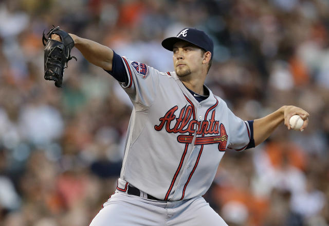Atlanta Braves pitcher Mike Minor throws against the San Francisco Giants during the second inning of a baseball game in San Francisco, Tuesday, May 13, 2014. (AP Photo)