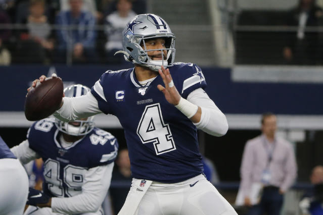 Dak Prescott's contract talks have dragged on. (AP Photo/Michael Ainsworth)
