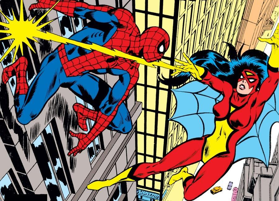 Spider-Woman faces off against Spider-Man in a 1970s issue of her comic book series.