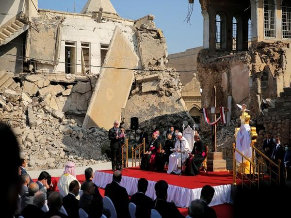 Standing amid the rubble left by ISIS terrorists in Iraq, Pope Francis said that hope is
