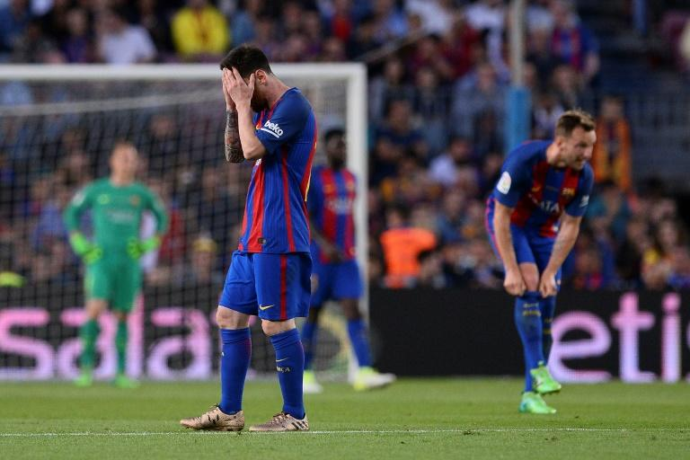 Barcelona's forward Lionel Messi gestures during the Spanish league football match against Eibar May 21, 2017