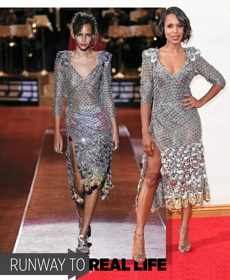 "<p>The Scandal actress was the first to get her hands on the coveted Marc Jacobs collection, donning this silver sequin number on the Emmys red carpet just three days after it debuted in New York. ""It kind of went off like a bomb at the Emmys,"" her stylist, Erin Walsh, told Yahoo Style. ""At least that was the idea."" <i>Photos: Getty Images</i></p>"