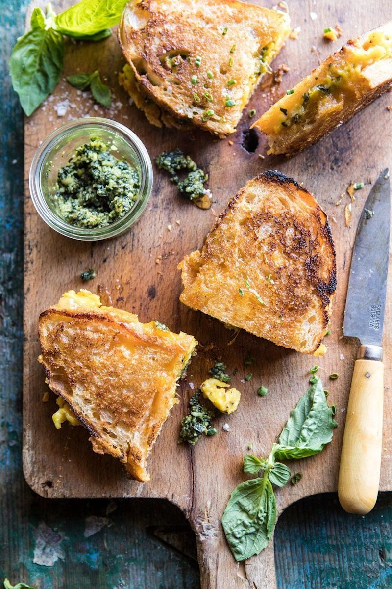 """<strong>Get the<a href=""""https://www.halfbakedharvest.com/breakfast-grilled-cheese/"""" target=""""_blank"""">Breakfast Grilled Cheese with Soft Scrambled Eggs and Pesto</a>recipe from Half Baked Harvest</strong>"""