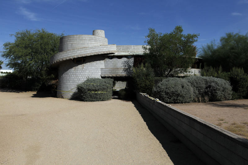 This Wednesday, Oct. 3, 2012 photo shows a 1952 Frank Lloyd Wright-designed home in the Arcadia neighborhood of Phoenix. The city of Phoenix and a developer who was poised to demolish the home have reached an agreement that will put any work on hold while a search continues for a buyer, a city official confirmed Wednesday. (AP Photo/Ross D. Franklin)
