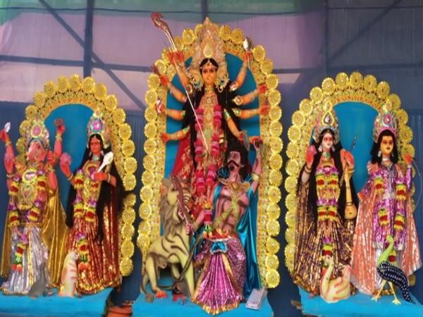 A view of idols of Gods and Goddesses at a Durga Puja pandal in Agartala. Photo/ANI