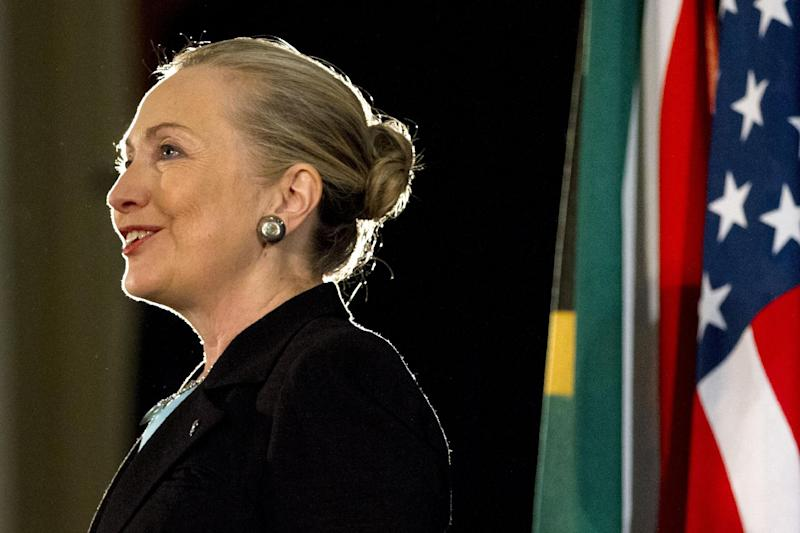 Secretary of State Hillary Rodham Clinton speaks at the University of the Western Cape about U.S.-South Africa partnership, Wednesday, Aug. 8, 2012, in Cape Town, South Africa. (AP Photo/Jacquelyn Martin, Pool)