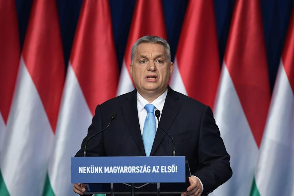 Hungarian Prime Minister and Chairman of FIDESZ party Viktor Orban delivers his state of the nation speech in front of his party members and sympathizers at Varkert Bazar cultural center in Budapest on February 10, 2019. (Photo by ATTILA KISBENEDEK/AFP/Getty Images)