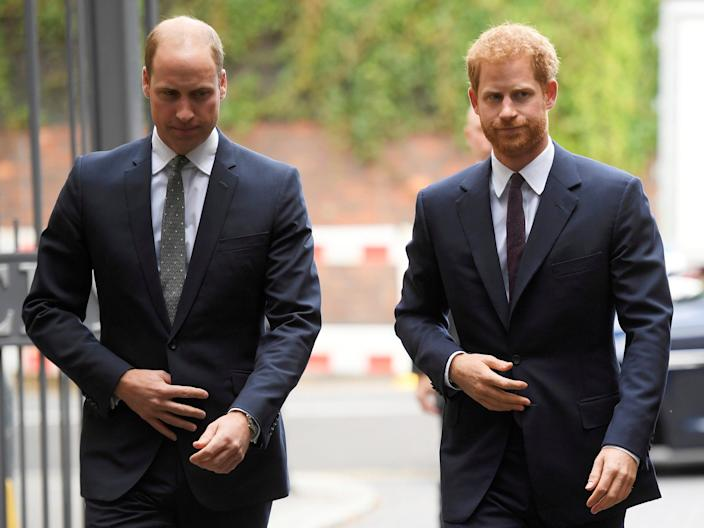 Prince William, left, says he hasn't spoken yet with his brother Harry since an interview stirred up royal tensions.