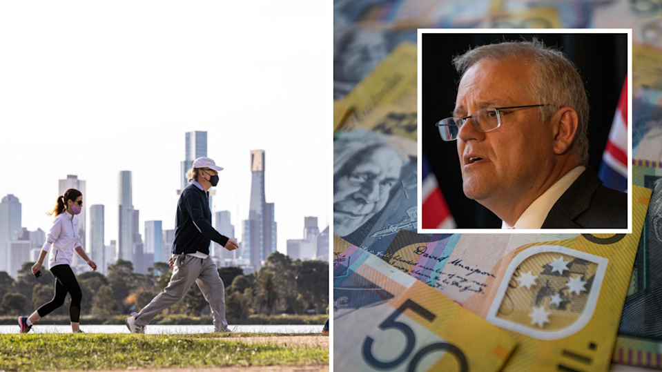 Pictured: People exercise in Melbourne with masks on, Scott Morrison, Australian cash.