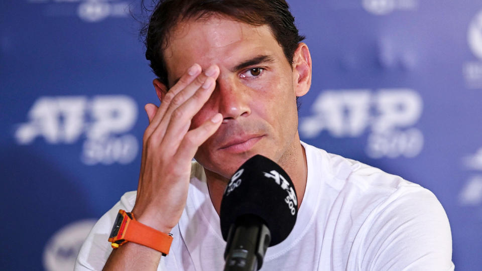 Rafael Nadal, pictured here at a post-match press conference.