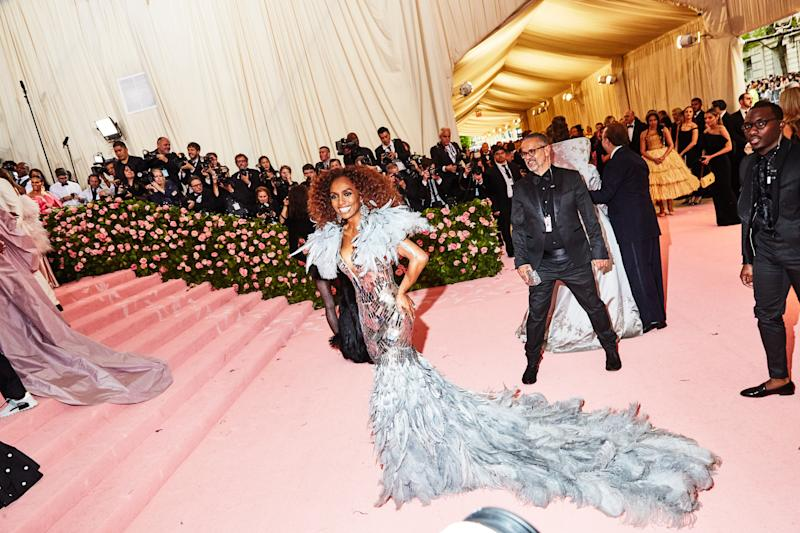 Janet Mock on the red carpet at the Met Gala in New York City on Monday, May 6th, 2019. Photograph by Amy Lombard for W Magazine.