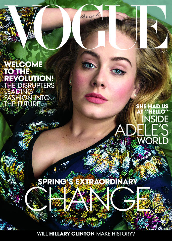 """<p>With her hit comeback album <i>25 </i>and an upcoming international tour, Adele <a href=""""http://www.vogue.com/13393643/adele-march-2016-cover"""">posed for the cover of American </a><i><a href=""""http://www.vogue.com/13393643/adele-march-2016-cover"""">Vogue</a> </i>and talked with Hamish Bowles about her music, son, confidence, and more. """"I was just shocked that all of a sudden I was 25!"""" she told the magazine. """"But actually, I like myself more than ever. I feel so comfortable in my own skin. I really like how I look, I like who I am, I like everyone that I surround myself with."""" <i>Photo: Annie Leibovitz/Courtesy of Vogue</i><br /></p>"""