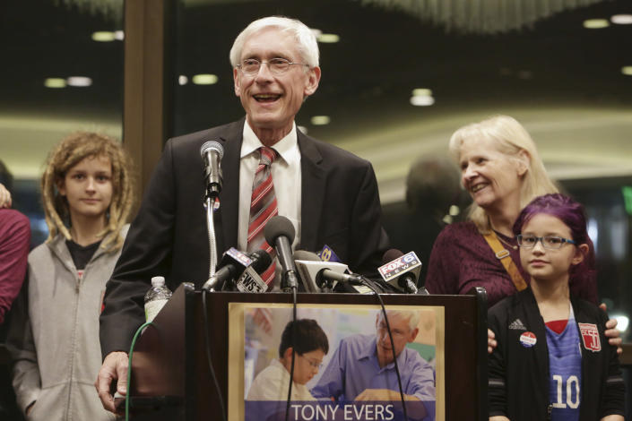 State Superintendent Tony Evers speaks at an election night party surrounded by his family at the Park Hotel in Madison, Wis., after he is re-elected , Tuesday, April 4, 2017. (Photo: Amber Arnold/Wisconsin State Journal via AP)