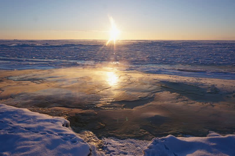 A view of new Bering Sea ice just formed off Nome, Alaska, U.S. December 21, 2018, on the winter solstice