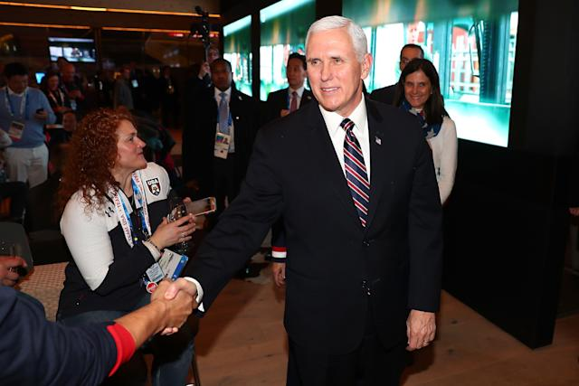 Mike Pence visits with guests at the USA House at the Winter Olympics.