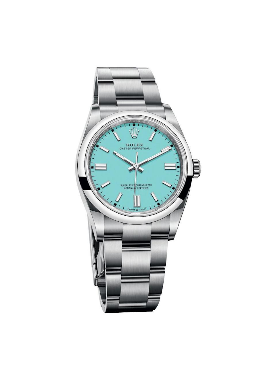 "<p><a class=""link rapid-noclick-resp"" href=""https://www.rolex.com/watches/oyster-perpetual/m126000-0006.html"" rel=""nofollow noopener"" target=""_blank"" data-ylk=""slk:SHOP NOW"">SHOP NOW</a></p><p>Though some details of Rolex's Oyster Perpetual are brand new, like its colourful dial (available in an array of bright hues, including pink, yellow, orange, green and turquoise blue, seen here) its design is descended from the original Oyster watch that accompanied Mercedes Gleitz, the first woman to swim the Channel, on her record-breaking 1927 feat. </p><p>Oyster Perpetual 36mm, £4,450, <a href=""https://www.rolex.com/watches/oyster-perpetual/m126000-0006.html"" rel=""nofollow noopener"" target=""_blank"" data-ylk=""slk:Rolex"" class=""link rapid-noclick-resp"">Rolex</a></p>"