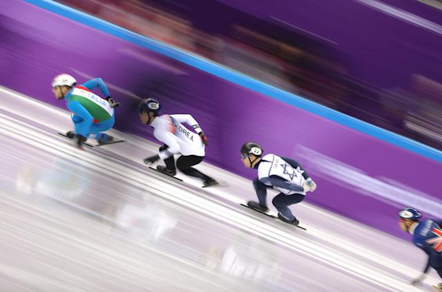 Short Track Speed Skating Events – Pyeongchang 2018 Winter Olympics – Men's 1000m Competition – Gangneung Ice Arena - Gangneung, South Korea – February 13, 2018 - Yuri Confortola of Italy leads ahead of Hwang Da-eheon of South Korea, Vladislav Bykanov of Israel and Josh Cheetham of Britain. REUTERS/Lucy Nicholson TPX IMAGES OF THE DAY