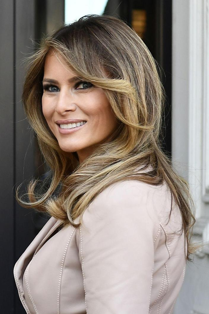 """<p><a href=""""http://www.goodhousekeeping.com/life/g4565/facts-about-melania-trump/"""" rel=""""nofollow noopener"""" target=""""_blank"""" data-ylk=""""slk:Melania"""" class=""""link rapid-noclick-resp"""">Melania</a> has all but highlighted away any trace of brown in her perfectly polished hair.</p>"""