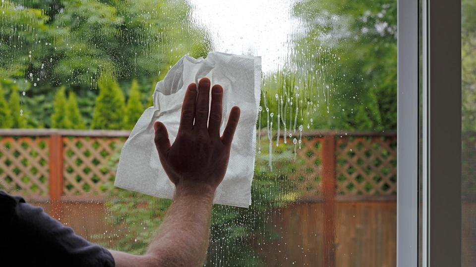 Having sprayed window cleaning fluid on the glass, a hand of a man is seen washing a sliding glass door from inside a home with a view of the green foliage backyard.