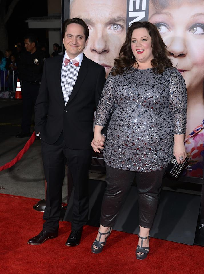 "WESTWOOD, CA - FEBRUARY 04:  Actor Ben Falcone and actress Melissa McCarthy attend the Premiere Of Universal Pictures' ""Identity Theft"" on February 4, 2013 in Westwood, California.  (Photo by Jason Kempin/Getty Images)"