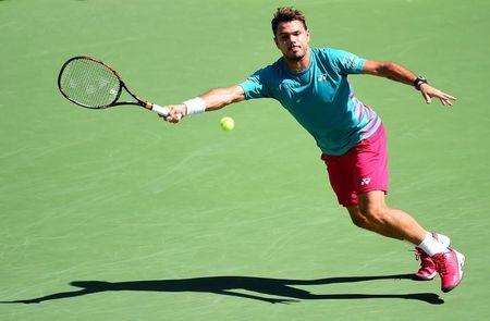 Mar 18, 2017; Indian Wells, CA, USA; Stan Wawrinka (SUI) in his semi-final match against Pablo Carreno Busta (not pictured) in the BNP Paribas Open at the Indian Wells Tennis Garden. Mandatory Credit: Jayne Kamin-Oncea-USA TODAY Sports