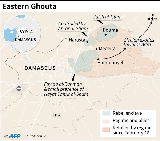 Advances by Syrian forces in Eastern Ghouta as of March 18. (AFP Photo/Omar KAMAL)