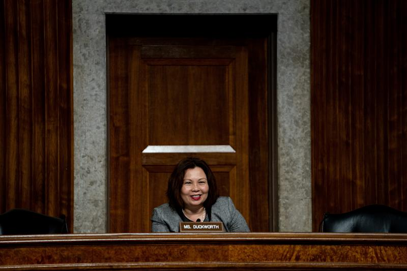 Sen. Tammy Duckworth (D-Ill.) questions Mark Esper during a Senate Armed Services Committee hearing on his nomination to be the next Secretary of Defense, on Capitol Hill in Washington, July 16, 2019. (Erin Schaff/The New York Times)