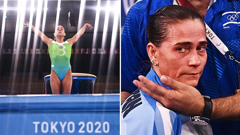 Oksana Chusovitina (pictured left) landing after ghe vault and (pictured right) becoming emotional after a farwell at the Tokyo Olympics.