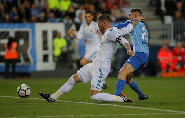 Soccer Football - La Liga Santander - Malaga CF vs Real Madrid - La Rosaleda, Malaga, Spain - April 15, 2018 Real Madrid's Sergio Ramos misses a chance to score REUTERS/Jon Nazca