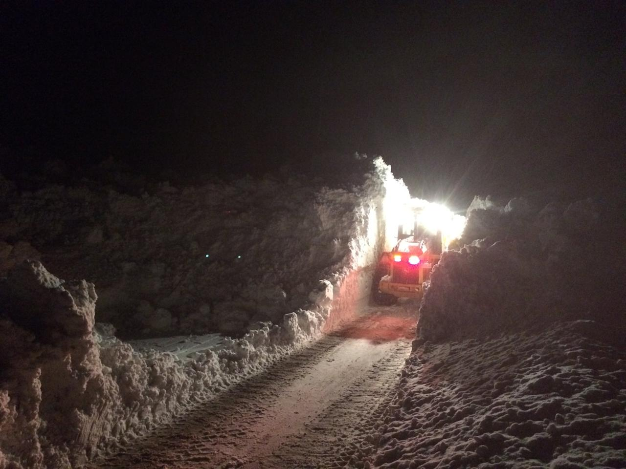 <p>Crews in Canada work through the night to clear snow that came down in an avalanche on a highway between New Denver, B.C. and Retallack, B.C. on Feb. 3. Photo from West Kootenay District/Twitter. </p>