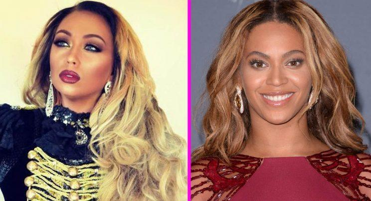 Beyonce impersonator Leanne Harper and Beyonce (Instagram/PA)